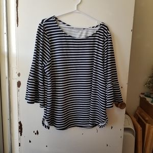 Green Envelope Black and White Stripped Top